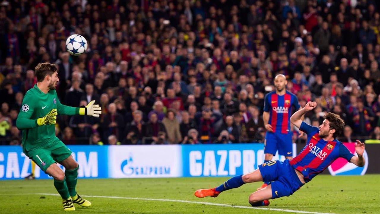Sergi Roberto segna lo storico gol del 6-1 in Barcellona PSG