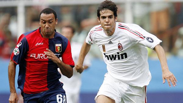 Vanden Borre in marcatura su Kakà in un Genoa-Milan del 2009